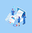 isometric concept business analysis analytics vector image vector image