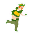 leprechaun girl with red hair find clover vector image