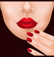 lower woman face and fingers vector image vector image