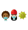 medical professionals and a virus icon set 9 vector image vector image