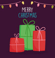 merry christmas celebration red and green gift vector image vector image