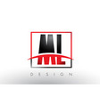 ml m l logo letters with red and black colors and vector image vector image