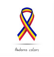modern colored ribbon andorra tricolor vector image vector image