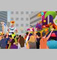 people celebrating mardi gras festival vector image