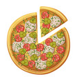 pizza top view salami sausages pickled cucumber vector image
