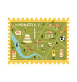 postal stamp with washington city map and symbols vector image vector image