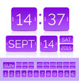 purple analog counter and flip calendar vector image vector image