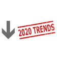 scratched 2020 trends stamp and halftone dotted vector image vector image