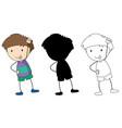 set doodle boy character vector image