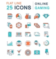 Set Flat Line Icons Online Gaming vector image vector image