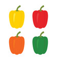 set four peppers yellow red orange and green vector image vector image