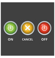 set of 3 coloured buttons on light dark grey vector image