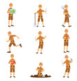 set of archaeologist character actions vector image