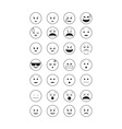 Set of black outline emoticon vector image vector image
