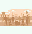 silhouette of protest people crowd protest vector image vector image
