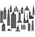 silhouette perspective city buildings vector image vector image