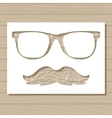 stencil template of glasses and moustache on vector image vector image