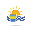 sun icon with beach basket color vector image vector image
