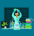 teacher woman make chemistry experiment in vector image vector image