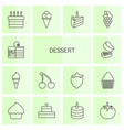 14 dessert icons vector image vector image