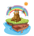 A bear in an island with two bees vector image vector image