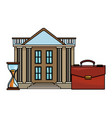 bank building with briefcase and hourglass vector image vector image