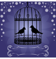 Birdcage-on-blue-floral-background vector image vector image