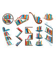 bookshelves collection with colorful books back vector image