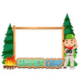 border template design with boy at summer camp vector image vector image