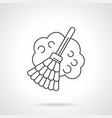 broom with dust flat line icon vector image vector image