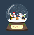 christmas snow globe with penguins and rabbit vector image vector image