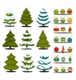 Christmas tree Set of green trees and decoration vector image vector image