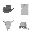 cowboy hat is searched cart bull s skull wild vector image vector image