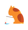 cute cartoon hamster character fishing funny vector image vector image