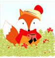 cute fox and his cup in forest cartoon vector image