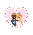 cute romantic couple inside heart design vector image vector image