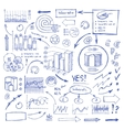 Doodle Blue Business Charts and Arrows on White vector image vector image