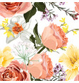 floral seamless pattern with narcissus roses vector image