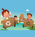 group of kids recycling trash vector image