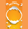 halloween background with crow and broomstick in vector image