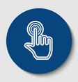hand click on button white contour icon vector image vector image