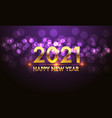 happy new year 2021 gold number violet bokeh light vector image vector image