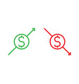 isolated dollar sign with arrow pointing up vector image