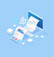 isometric concept of business analysis analytics vector image