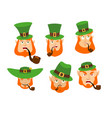 leprechaun emoji set happy and sad angry and vector image vector image
