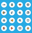 multimedia icons colored line set with film reel vector image vector image