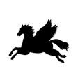 pegasus silhouette mythology symbol fantasy tale vector image vector image