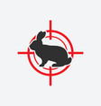 rabbit silhouette animal pest icon red target vector image vector image