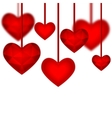 Red diamond abstract hearts isolated on a white vector image