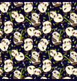 seamless pattern with cute animal panda and bamboo vector image vector image